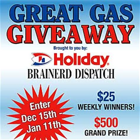 Gas Sweepstakes - the great gas giveaway brainerd dispatch