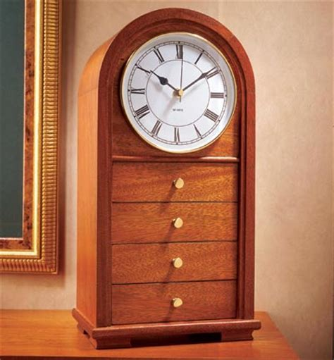 arched top clock  drawers woodworking plan  wood
