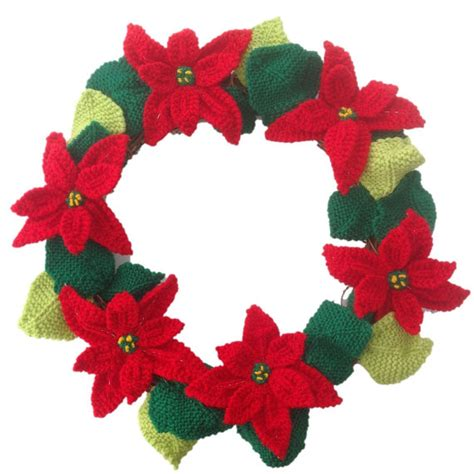 knitted poinsettia knitted poinsettia wreath knitting pattern for