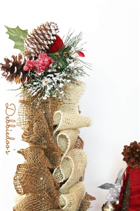 styrofoam tree craft burlap bells and ribbon cone trees debbiedoos