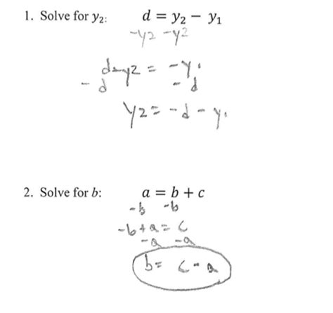 Literal Equations And Formulas Worksheet by See Exles Before For The Method To Solving Literal Equ