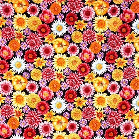 tessuti a fiori tessuto nero grandi fiori colorati di robert kaufman