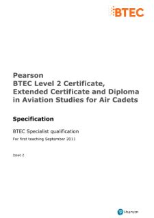 BTEC Specialist | Aviation Studies for Air Cadets (L2
