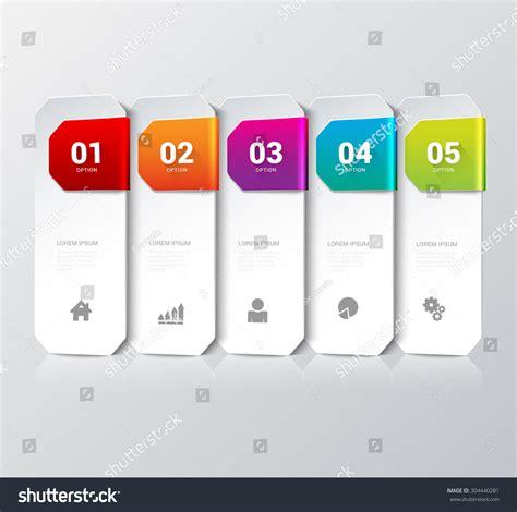 mockup design steps simple multicolor 5 step process steps stock vector