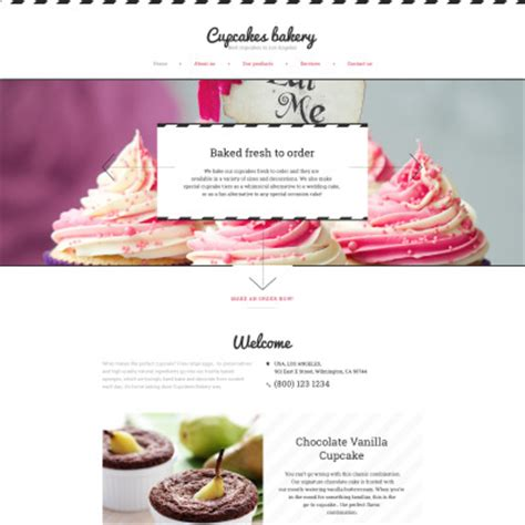 22 Best Bakery Website Templates Cupcake Website Template