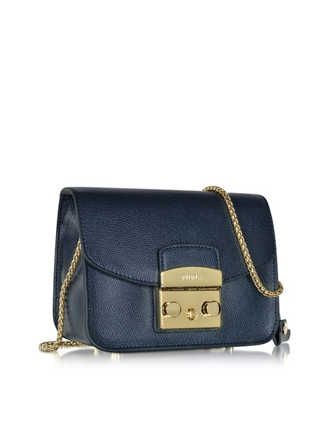 lyst furla metropolis navy leather shoulder bag in blue