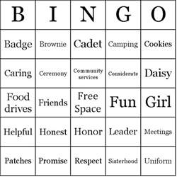 Personal Ice Cream Maker Scouts Bingo Cards