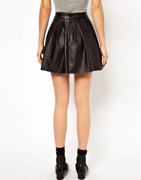 asos skater skirt in leather look in burgundy lyst