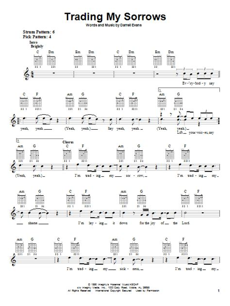 strumming pattern for trading my sorrows darrell evans trading my sorrows sheet music at