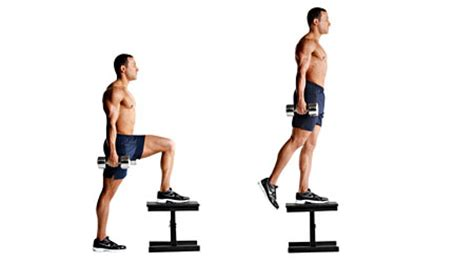 bench step ups with dumbbells how to pack on 15 pounds of muscle