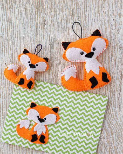 free pattern felt fox christmas ornament sewing