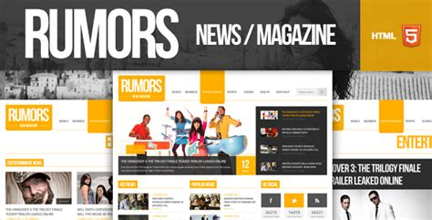 rumors news magazine responsive html5 template by