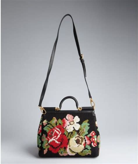 Dolce And Gabbana Leather Convertible Bag by Dolce Gabbana Black Leather And Floral Needlepoint