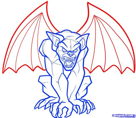 free how to draw how to draw a gargoyle step by step creatures monsters