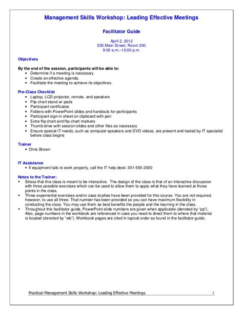 Leading Effective Meetings Facilitator Guide Workshop Facilitator Contract Template