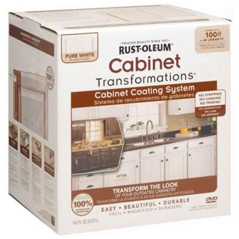 Kitchen Cabinet Painting Kit Rust Oleum Transformations 1 Qt White Cabinet Small Kit 263232 The Home Depot