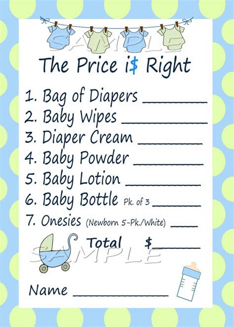 price is right baby shower template price is right baby shower blue green by