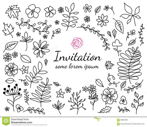 free doodle design elements invitation card with floral elements stock