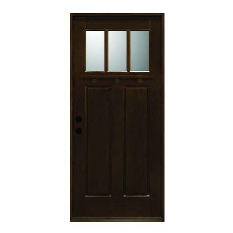 3 window front door door 36 in x 80 in craftsman collection 3 lite prefinished antique mahogany type solid