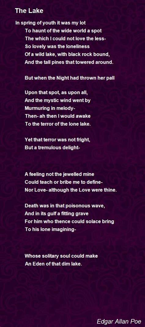 poem for the lake poem by edgar allan poe poem