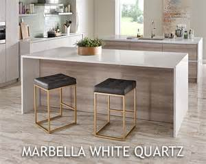 gorgeous kitchen waterfall island with marbella white quartz