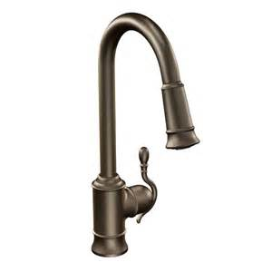moen bronze kitchen faucets woodmere rubbed bronze one handle high arc pulldown kitchen faucet 7615orb moen
