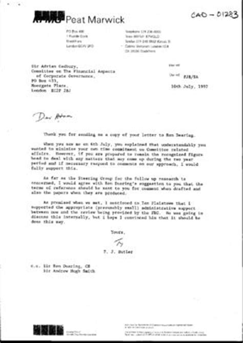 Reference Letter Kpmg Cambridge Judge Business School The Cadbury Archive Letter From Pj Butler Kpmg Peat Marwick