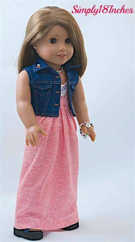 Doll Maxi american doll clothing knit maxi dress cropped denim vest jacket purse charm bracelet