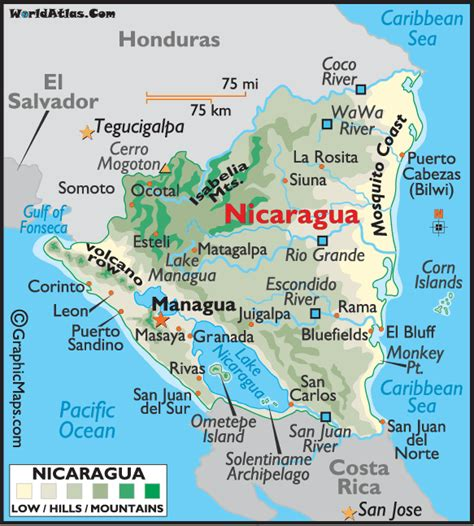 where is nicaragua on the world map large color map of nicaragua nicaragua color map