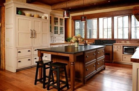 Mixed Wood Kitchen Cabinets Antique White Glazed Kitchen Cabinets Antique White Glazed Cabinets Mixed With Rustic Wood