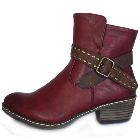burgundy boots rieker danube fashion winter ankle boots in burgundy