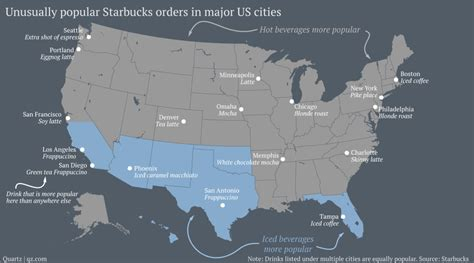 us map with popular cities the most popular starbucks drinks in the united states may