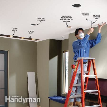 Install Pot Lights In Finished Ceiling How To Install Recessed Lighting For Dramatic Effect The Family Handyman