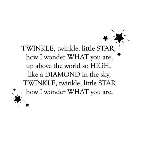 twinkle twinkle wall stickers twinkle twinkle nursery rhyme wall sticker by leonora