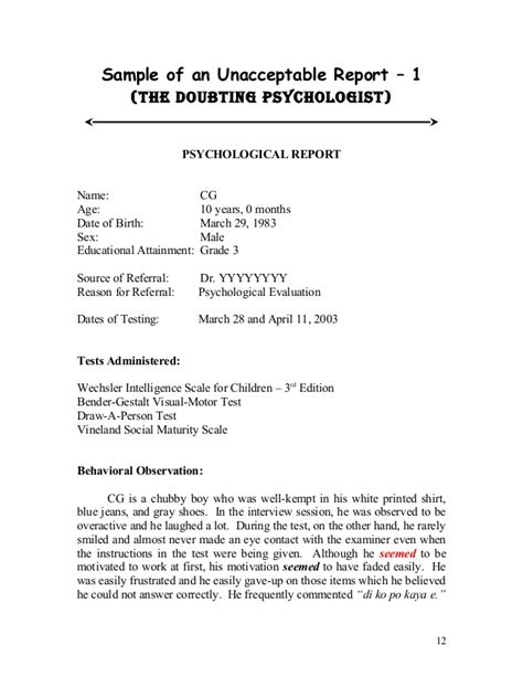 Sle Psych Reports Format Psych Report Template