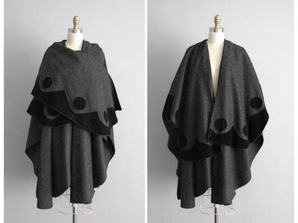 Vpod Leather And by Vpod Vintage 1980s Wool Cape With Suede Appliques