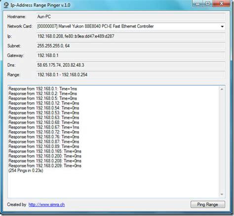 Ip Address Range Lookup Ping Ip Address With Ip Address Range Pinger