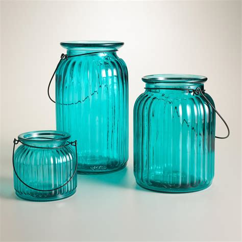 Teal Glass by Teal Ribbed Glass Lantern Candleholder World Market