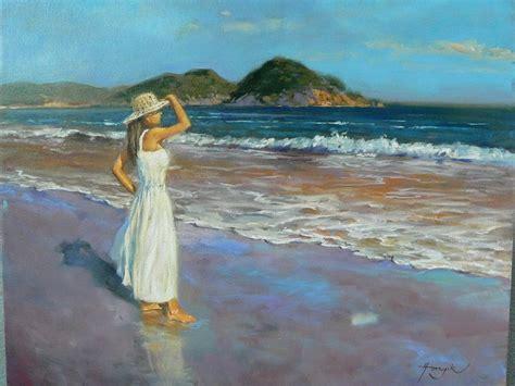 imagenes mujeres en el mar cuadros pinturas oleos mujeres en jardines y el mar