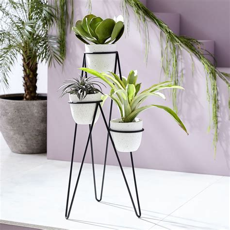 iris planter chevron stand triple west elm united