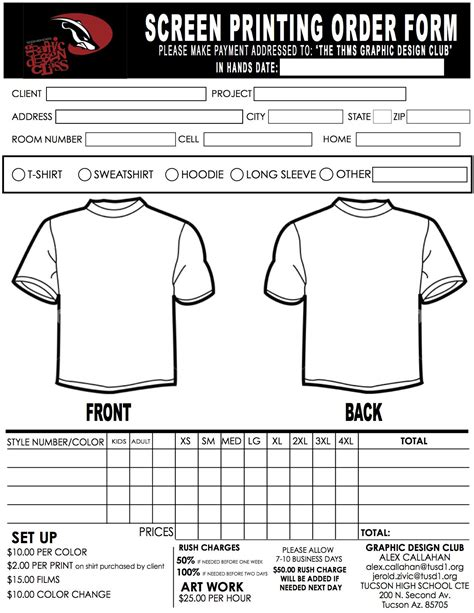 screen print template screen printing order form thms army