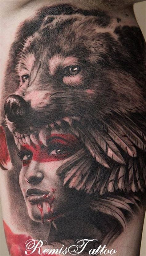 wolf headdress tattoo stunning american designs
