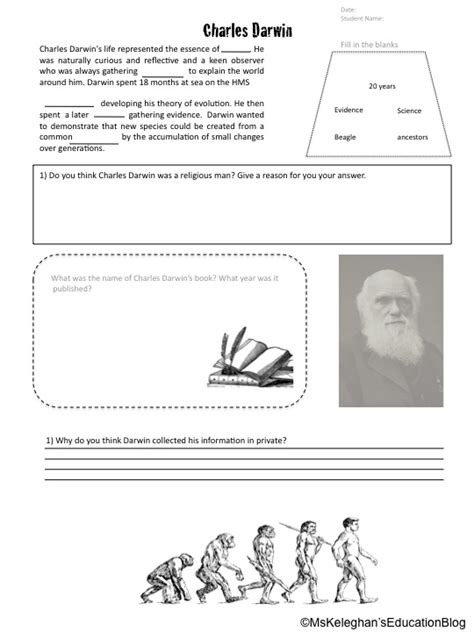 Darwin And The Theory Of Evolution Worksheet Answers by Darwin Ms Keleghan S Education