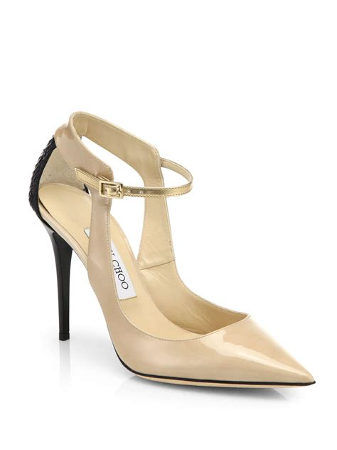 Jimmy Choo Cut Out Pumps In The Cut Designer Sale At Saks jimmy choo mystic mixed media cut out pumps in lyst