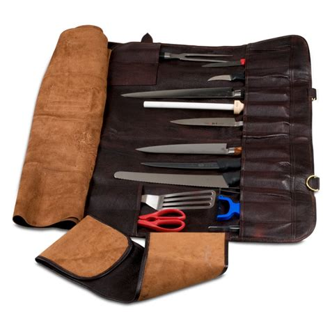 boldric brown leather knife bag with 18 pockets