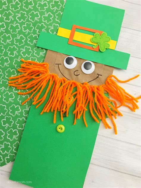 kid and craft leprechaun paper bag puppet kid craft about a