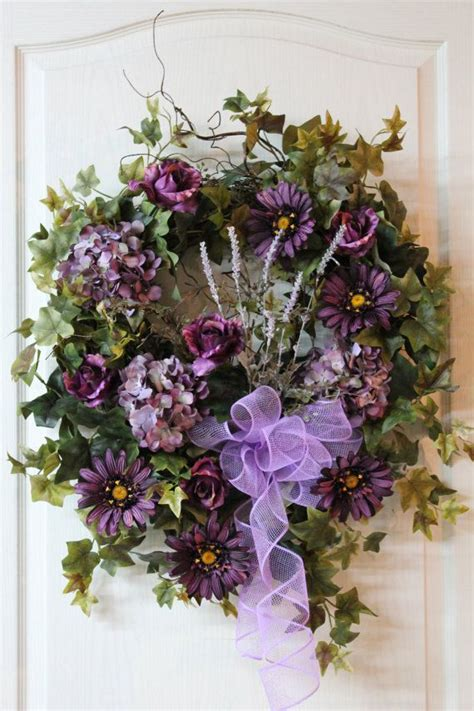 beautiful wreaths summer front door wreath beautiful purple roses
