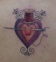 tattoo with needle and sharpie sewed on heart tattoo would be cute with a bird pulling