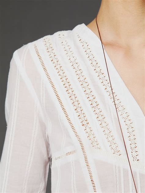 Tunic White Sohib 3 lyst free sleeve pintuck texture tunic in white