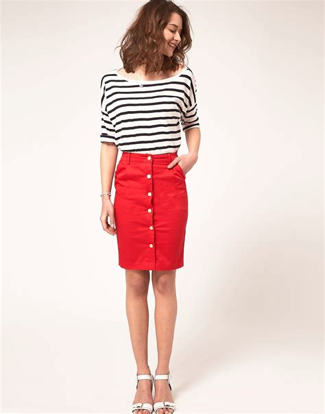 a wear a wear pencil skirt with button front at asos